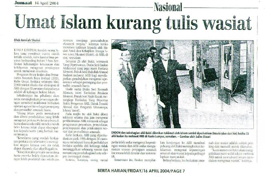 Umat Islam kurang tulis wasiat