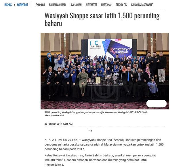 Wasiyyah Shoppe Sasar Latih 1,500 Perunding Baru