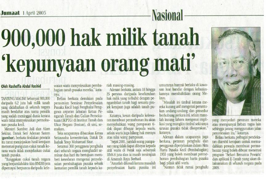 """900,000 hak milik tanah 'kepunyaan orang mati"""""""