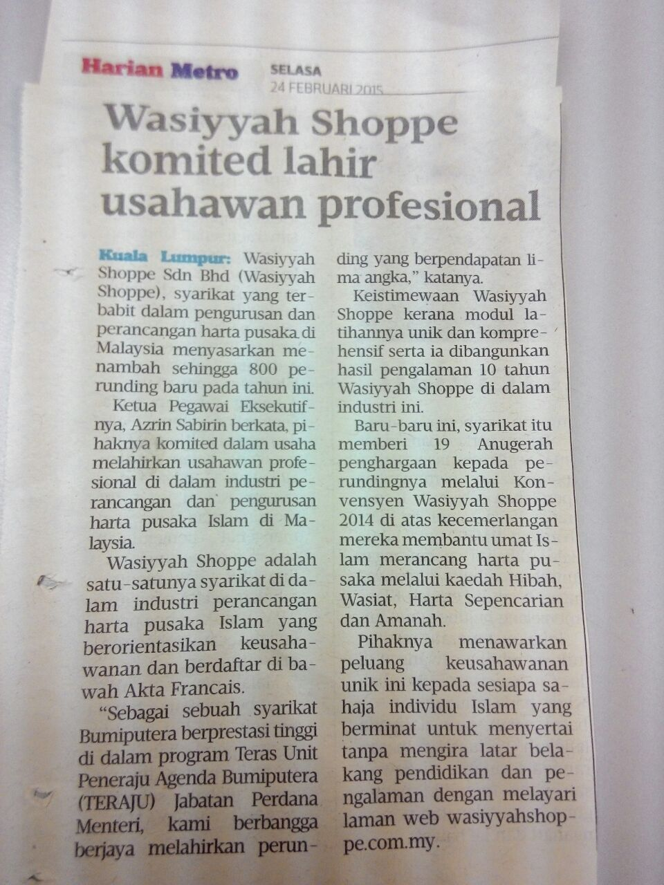 Wasiyyah Shoppe komited lahir usahawan profesional